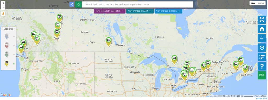 This map of Canada displays markers indicating the launch of new online local news outlets - there are very few.